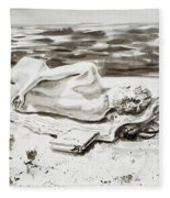 Reclining Nude Study Resting At The Beach Fleece Blanket