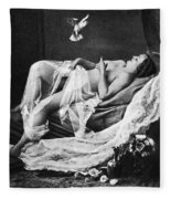 Reclining Nude With Bird Fleece Blanket