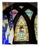 Recollection Union Soldier Stained Glass Window Digital Art Fleece Blanket