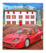 Enzo Ferrari S Garage With 1995 Ferrari 512m Fleece Blanket