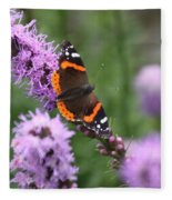 Red Admiral Butterfly On A Blazing Star Fleece Blanket