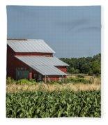 Red Amish Barn And Corn Fields Fleece Blanket
