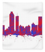 Red And Blue Art Print Of The Skyline Of Atlanta Georgia Usa Fleece Blanket