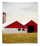 Red And White Barn Fleece Blanket