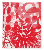 Red And White Bouquet- Abstract Floral Painting Fleece Blanket