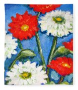 Red And White Flowers With A Blue Sky Fleece Blanket