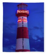 Red And White Lighthouse Shows Neon Fleece Blanket
