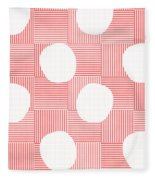 Red And White Poof  Fleece Blanket