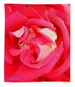 Red And White Rose Fleece Blanket
