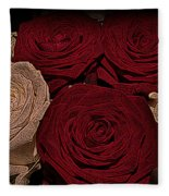 Red And White Roses Color Engraved Fleece Blanket