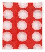 Red And White Shibori Circles Fleece Blanket