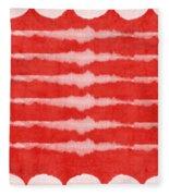 Red And White Shibori Design Fleece Blanket