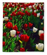Red And White Tulip Art Fleece Blanket