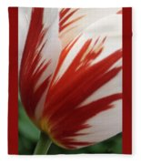 Red And White Tulip  Fleece Blanket