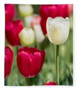 Red And White Tulips Fleece Blanket