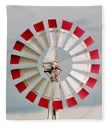 Red And White Windmill Fleece Blanket