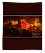 Red And Yellow Apples In Baskets Fleece Blanket