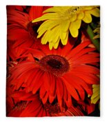 Red And Yellow Glory - The Flowers Of Summer - Gerbera Daisies Fleece Blanket