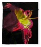 Red And Yellow Lily Fleece Blanket