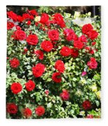 Red And Yellow Roses Fleece Blanket
