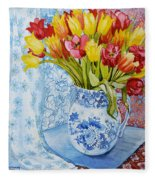 Red And Yellow Tulips In A Copeland Jug Fleece Blanket