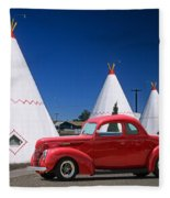 Red Antique Car Fleece Blanket