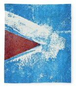 Red Arrow Painted On Blue Wall Fleece Blanket