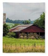 Red Barn And Bales Of Hay Fleece Blanket