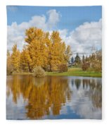 Red Barn And Fall Colors Reflected In A Pond Fleece Blanket