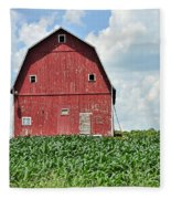 Red Barn And New Corn Fleece Blanket