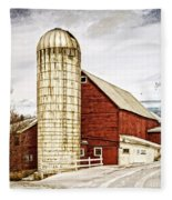 Red Barn And Silo Vermont Fleece Blanket