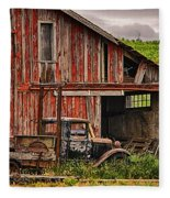 Red Barn And Truck In The Palouse Fleece Blanket