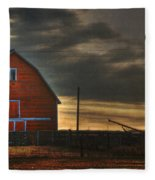 Red Barn At Dawn Fleece Blanket
