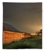 Red Barn At Sundown Fleece Blanket