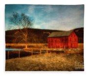 Red Barn At Twilight Fleece Blanket