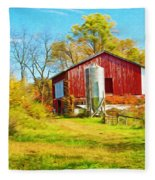 Red Barn In Autumn Fleece Blanket