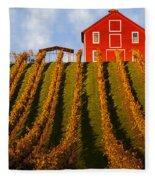 Red Barn In Autumn Vineyards Fleece Blanket
