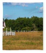 Red Barn In Meadow, Knowlton, Quebec Fleece Blanket