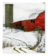 Red Barn In Snow Fleece Blanket