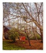 Red Barn In The Smokies Fleece Blanket