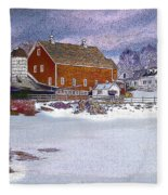 Red Barn In Winter Fleece Blanket