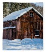 Red Barn In Winter Fleece Blanket