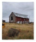 Red Barn On The Hill Fleece Blanket