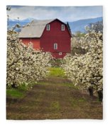Red Barn Spring Fleece Blanket