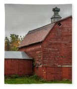 Red Barn With Fall Colors Fleece Blanket