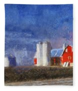 Red Barn With Silos Photo Art 02 Fleece Blanket