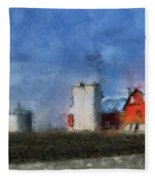 Red Barn With Silos Photo Art 03 Fleece Blanket