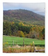 Red Barns And Mountains Fleece Blanket