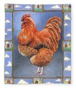 Red Baron Rooster Fleece Blanket
