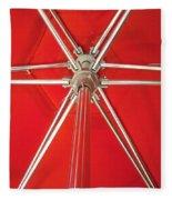 Red Beach Umbrella Fleece Blanket